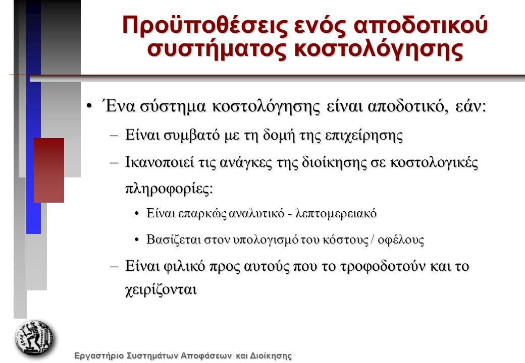 Εργαστήριο Συστημάτων Αποφάσεων και Διοίκησης Μονάδες στο αρχικό απόθεμα0 Μονάδες που παρήχθησαν6.000 Μονάδες που πωλήθηκαν5.000 Μονάδες στο τελικό απόθεμα1.000 Τιμή πώλησης ανά μονάδα €20 Δαπάνες πωλήσεων και διοίκησης: Μεταβλητές δαπάνες ανά μονάδα€3€3 Σταθερές δαπάνες ανά έτος€10.000 Κοστολόγηση πλήρους απορρόφησηςΚοστολόγηση μεταβλητού κόστους Κόστος μονάδας προϊόντος Άμεσα υλικά €2 €2 €2 €2 Άμεσο κόστος εργασίας€4€4€4€4 Μεταβλητό έμμεσο κόστος παραγωγής€1€1€1€1 Σταθερό έμμεσο κόστος παραγωγής (30.000/6.000 μον)€5€5 - Κόστος μονάδας προϊόντος € 12 € 7