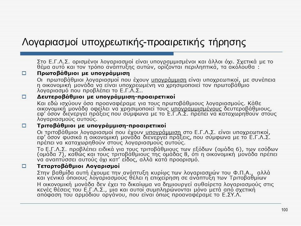 100 Λογαριασμοί υποχρεωτικής-προαιρετικής τήρησης Στο Ε.Γ.Λ.Σ.