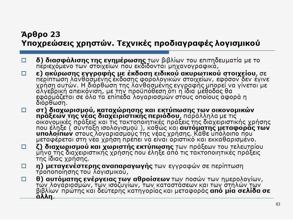 83 Άρθρο 23 Υποχρεώσεις χρηστών.