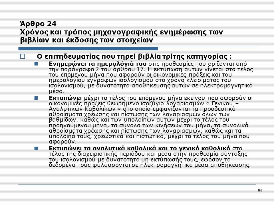 84 Άρθρο 24 Χρόνος και τρόπος μηχανογραφικής ενημέρωσης των βιβλίων και έκδοσης των στοιχείων  Ο επιτηδευματίας που τηρεί βιβλία τρίτης κατηγορίας : Ενημερώνει τα ημερολόγιά του στις προθεσμίες που ορίζονται από την παράγραφο 2 του άρθρου 17.