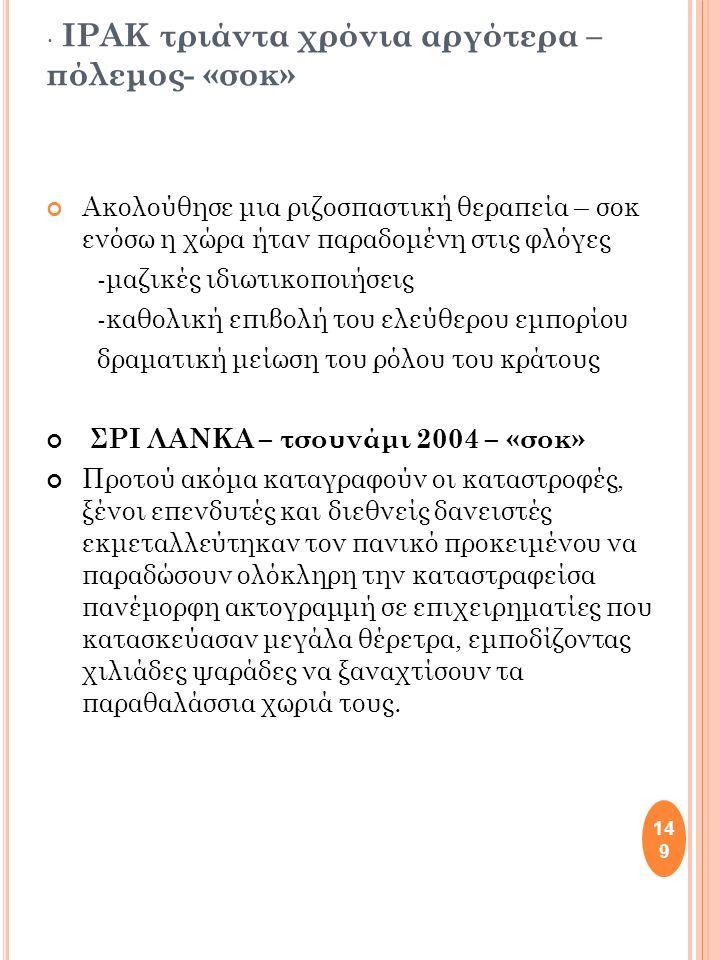 149 ΙΡΑΚ τριάντα χρόνια αργότερα – πόλεμος- «σοκ» Ακολούθησε μια ριζοσπαστική θεραπεία – σοκ ενόσω η χώρα ήταν παραδομένη στις φλόγες -μαζικές ιδιωτικοποιήσεις -καθολική επιβολή του ελεύθερου εμπορίου δραματική μείωση του ρόλου του κράτους ΣΡΙ ΛΑΝΚΑ – τσουνάμι 2004 – «σοκ» Προτού ακόμα καταγραφούν οι καταστροφές, ξένοι επενδυτές και διεθνείς δανειστές εκμεταλλεύτηκαν τον πανικό προκειμένου να παραδώσουν ολόκληρη την καταστραφείσα πανέμορφη ακτογραμμή σε επιχειρηματίες που κατασκεύασαν μεγάλα θέρετρα, εμποδίζοντας χιλιάδες ψαράδες να ξαναχτίσουν τα παραθαλάσσια χωριά τους.
