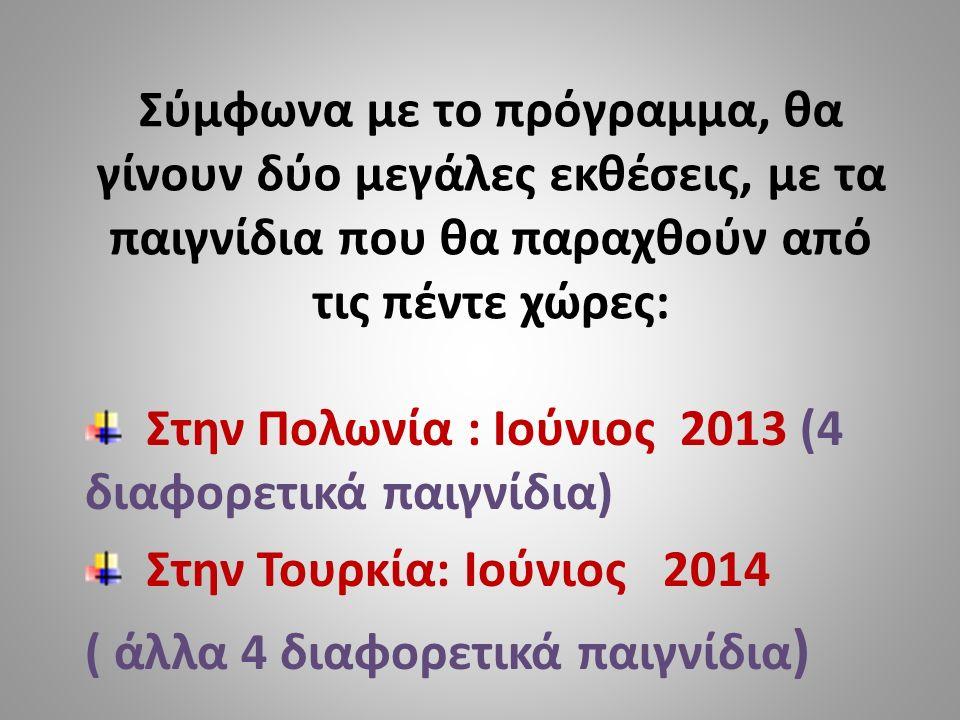 Σύμφωνα με το πρόγραμμα, θα γίνουν δύο μεγάλες εκθέσεις, με τα παιγνίδια που θα παραχθούν από τις πέντε χώρες: Στην Πολωνία : Ιούνιος 2013 (4 διαφορετικά παιγνίδια) Στην Τουρκία: Ιούνιος 2014 ( άλλα 4 διαφορετικά παιγνίδια )
