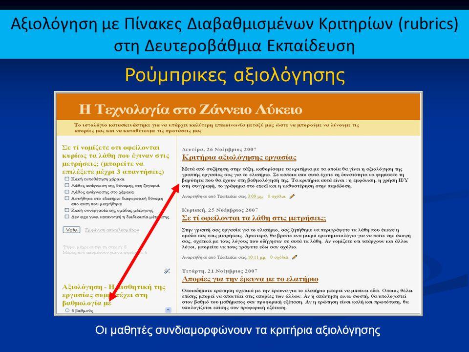 Ρούμπρικες αξιολόγησης Οι μαθητές συνδιαμορφώνουν τα κριτήρια αξιολόγησης Αξιολόγηση με Πίνακες Διαβαθμισμένων Κριτηρίων (rubrics) στη Δευτεροβάθμια Ε
