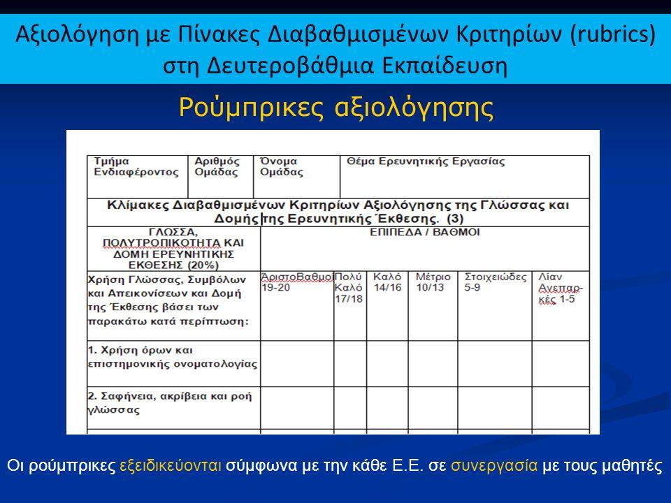Ρούμπρικες αξιολόγησης Οι ρούμπρικες εξειδικεύονται σύμφωνα με την κάθε Ε.Ε. σε συνεργασία με τους μαθητές Αξιολόγηση με Πίνακες Διαβαθμισμένων Κριτηρ