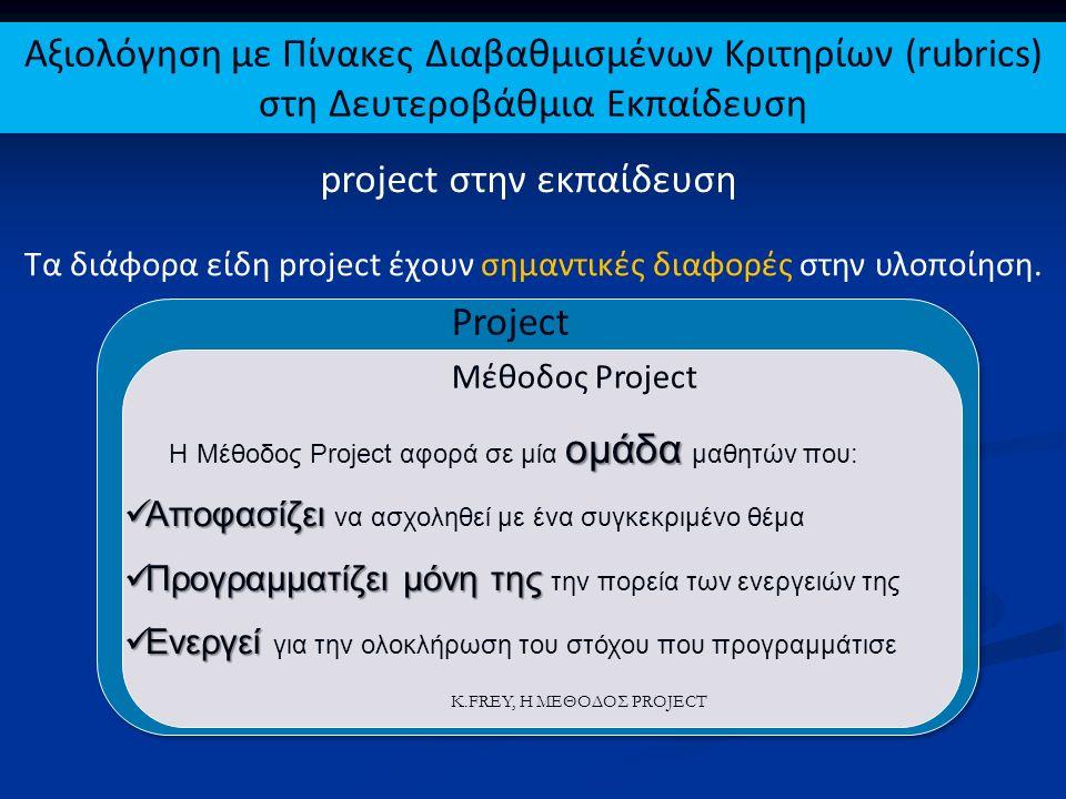 Project Ερευνητικές Εργασίες Βιωματικές Δράσεις Μέθοδος Project K.FREY, Η ΜΕΘΟΔΟΣ PROJECT Οι Ερευνητικές Εργασίες και οι Βιωματικές Δράσεις είναι ΜΑΘΗΜΑΤΑ με συγκεκριμένο τρόπο υλοποίησης και αξιολόγησης Αξιολόγηση με Πίνακες Διαβαθμισμένων Κριτηρίων (rubrics) στη Δευτεροβάθμια Εκπαίδευση project στην εκπαίδευση