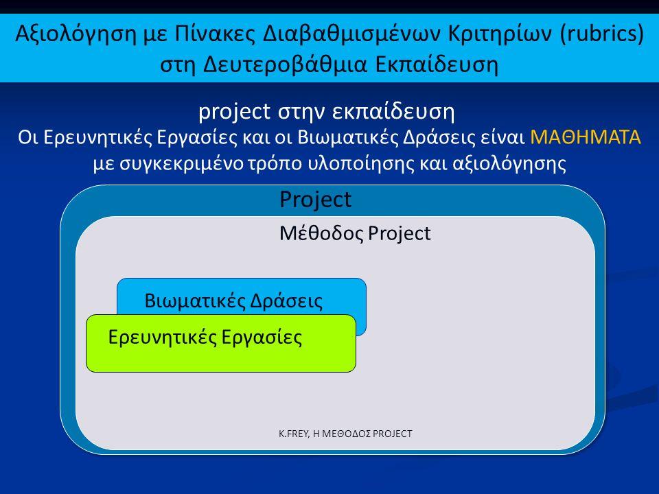 Project Ερευνητικές Εργασίες Βιωματικές Δράσεις Μέθοδος Project K.FREY, Η ΜΕΘΟΔΟΣ PROJECT Οι Ερευνητικές Εργασίες και οι Βιωματικές Δράσεις είναι ΜΑΘΗ