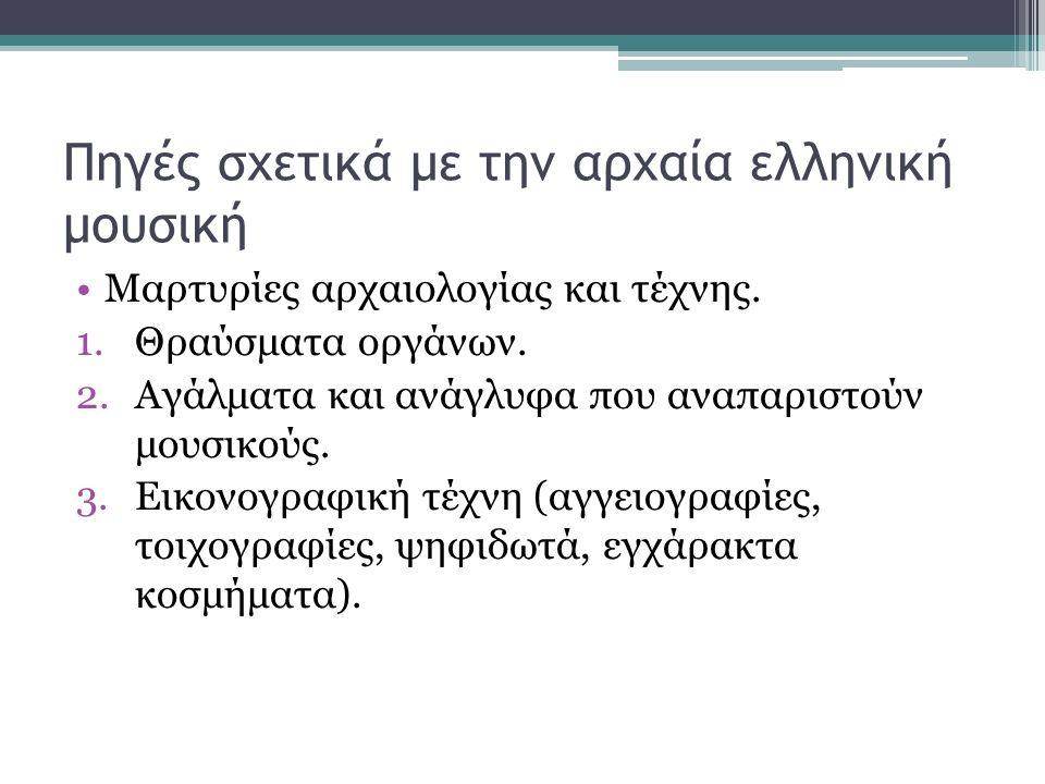 Μαρτυρίες αρχαιολογίας και τέχνης. 1.Θραύσματα οργάνων.