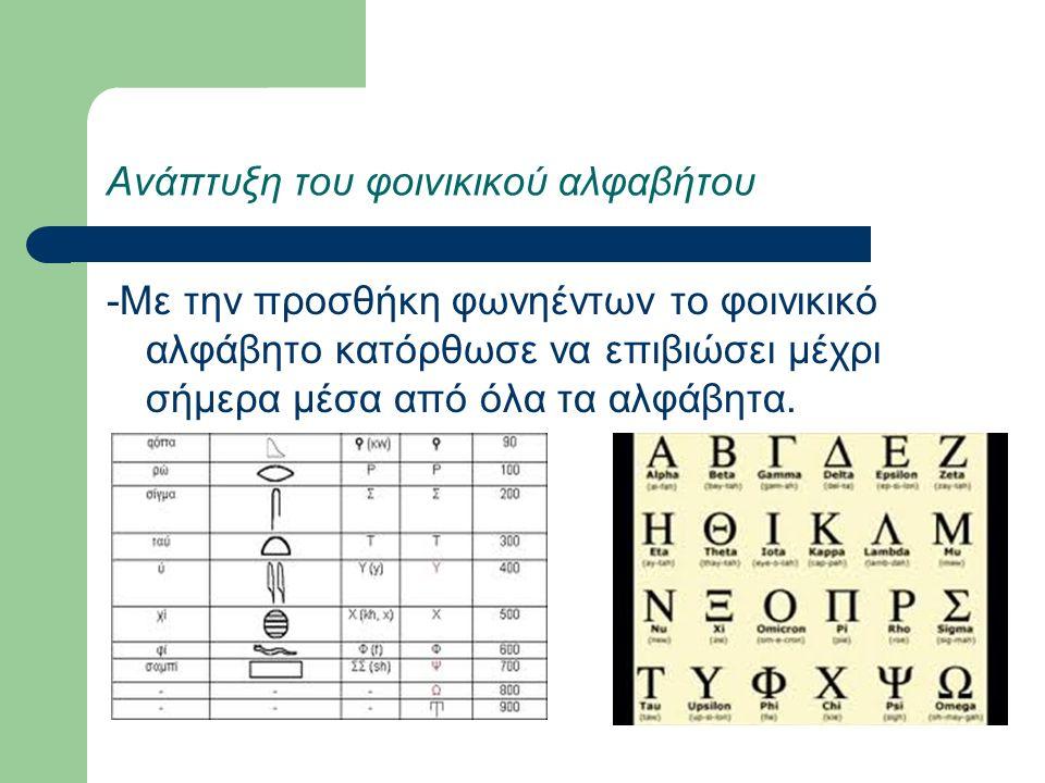 Ανάπτυξη του φοινικικού αλφαβήτου -Με την προσθήκη φωνηέντων το φοινικικό αλφάβητο κατόρθωσε να επιβιώσει μέχρι σήμερα μέσα από όλα τα αλφάβητα.