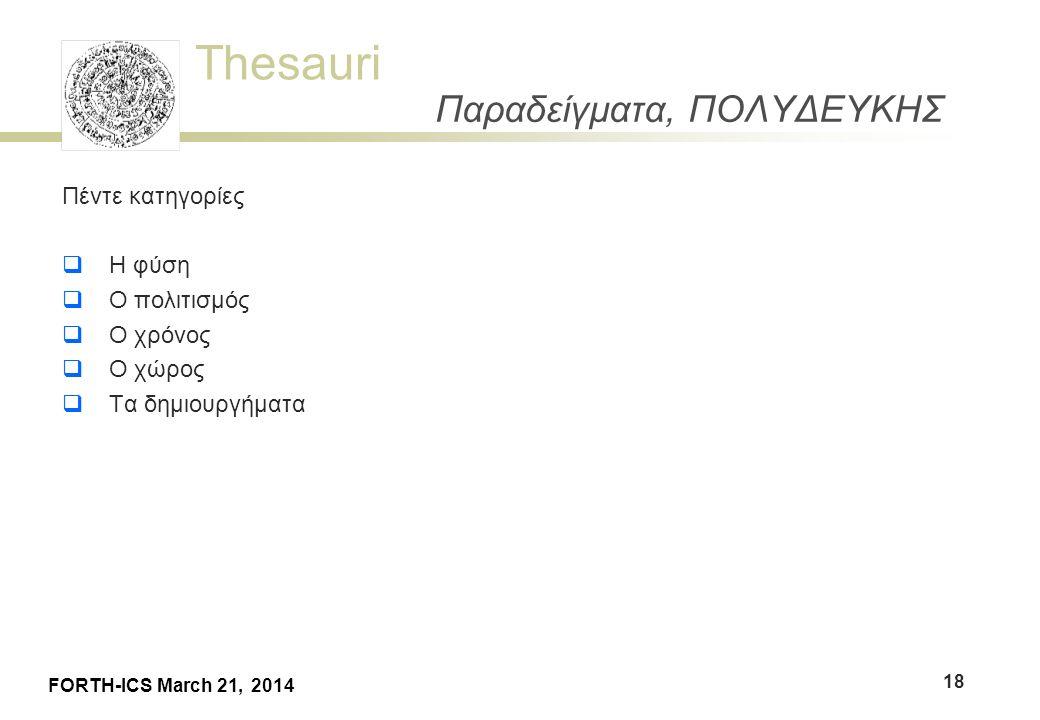 Thesauri FORTH-ICS March 21, 2014 Παραδείγματα, ΠΟΛΥΔΕΥΚΗΣ Πέντε κατηγορίες  Η φύση  Ο πολιτισμός  Ο χρόνος  Ο χώρος  Τα δημιουργήματα 18