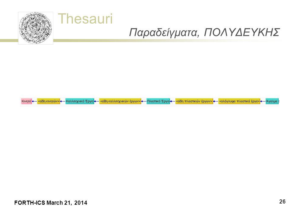 Thesauri FORTH-ICS March 21, 2014 Παραδείγματα, ΠΟΛΥΔΕΥΚΗΣ 26