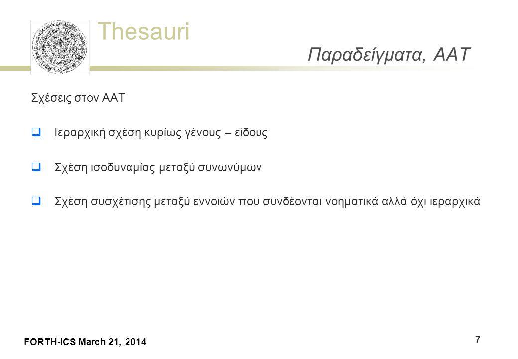 Thesauri FORTH-ICS March 21, 2014 Παραδείγματα, AAT Σχέσεις στον ΑΑΤ  Ιεραρχική σχέση κυρίως γένους – είδους  Σχέση ισοδυναμίας μεταξύ συνωνύμων  Σ