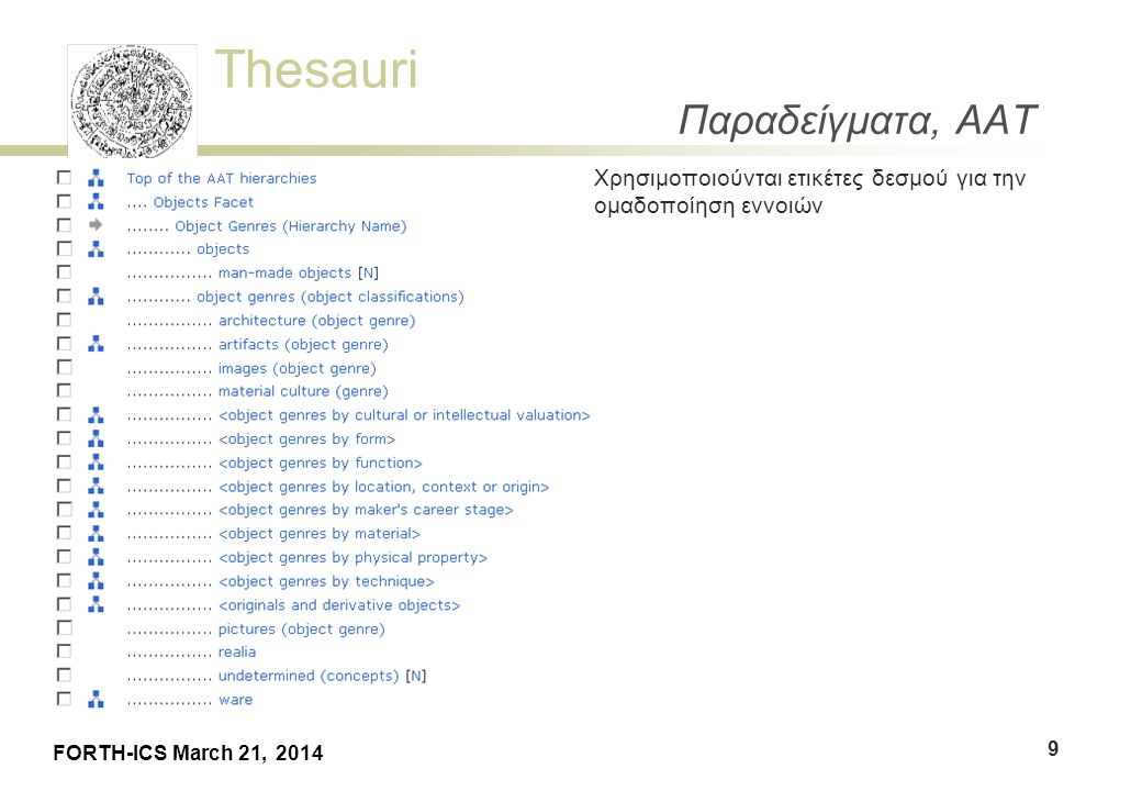Thesauri FORTH-ICS March 21, 2014 Παραδείγματα, AAT  Ο ΑΑΤ είναι πολύιεραρχικός: μία έννοια μπορεί να έχει πάνω από ένα γονείς 10