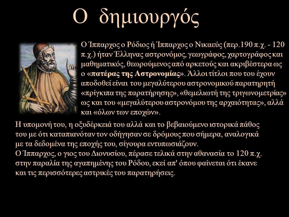 Ο δημιουργός Ο Ίππαρχος ο Ρόδιος ή Ίππαρχος ο Νικαεύς (περ.190 π.χ.