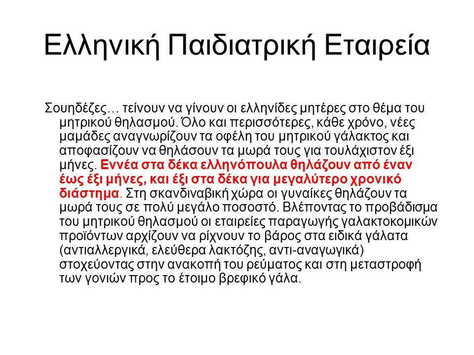 Ελληνική Παιδιατρική Εταιρεία Σουηδέζες… τείνουν να γίνουν οι ελληνίδες μητέρες στο θέμα του μητρικού θηλασμού.