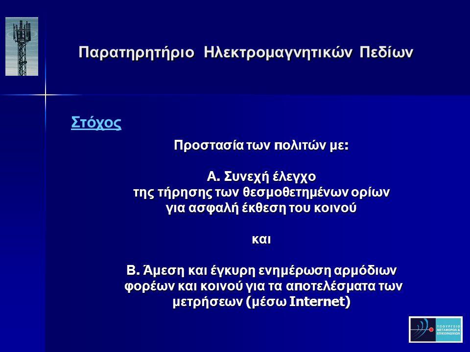 Παρατηρητήριο Ηλεκτρομαγνητικών Πεδίων Παρατηρητήριο Ηλεκτρομαγνητικών Πεδίων Προστασία των π ολιτών με : Α.