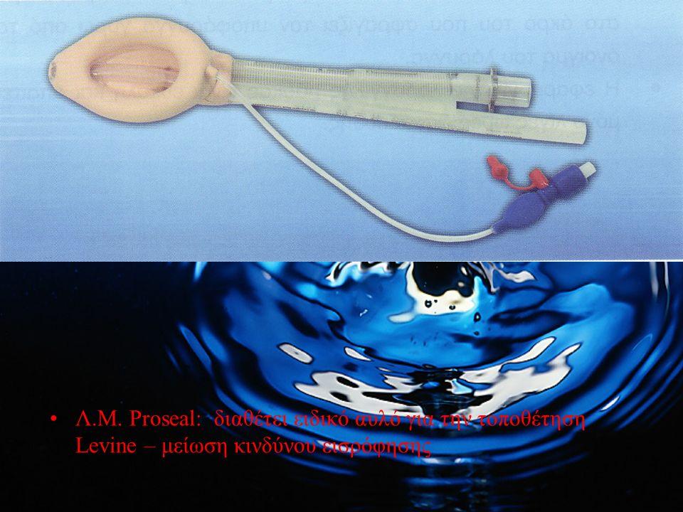 Λ.Μ. Proseal: διαθέτει ειδικό αυλό για την τοποθέτηση Levine – μείωση κινδύνου εισρόφησης