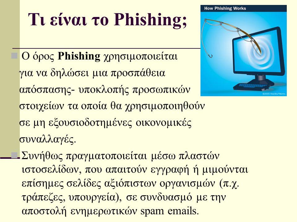 Τι είναι το Phishing; Ο όρος Phishing χρησιµοποιείται για να δηλώσει µια προσπάθεια απόσπασης- υποκλοπής προσωπικών στοιχείων τα οποία θα χρησιµοποιηθούν σε µη εξουσιοδοτηµένες οικονοµικές συναλλαγές.
