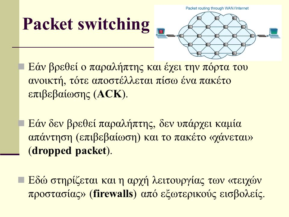 Packet switching Εάν βρεθεί ο παραλήπτης και έχει την πόρτα του ανοικτή, τότε αποστέλλεται πίσω ένα πακέτο επιβεβαίωσης (ACK).