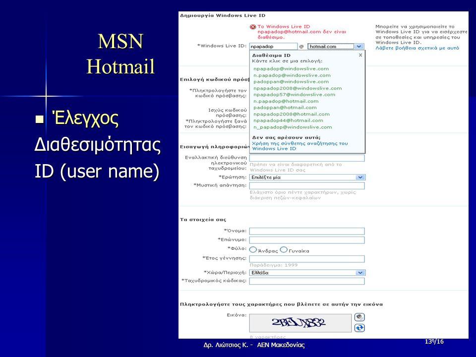 MSN Hotmail Έλεγχος ΈλεγχοςΔιαθεσιμότητας ID (user name) Δρ. Λιώτσιος Κ. - ΑΕΝ Μακεδονίας 13 η /16