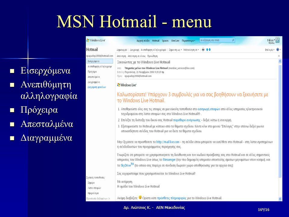 MSN Hotmail - menu Εισερχόμενα Εισερχόμενα Ανεπιθύμητη αλληλογραφία Ανεπιθύμητη αλληλογραφία Πρόχειρα Πρόχειρα Απεσταλμένα Απεσταλμένα Διαγραμμένα Δια