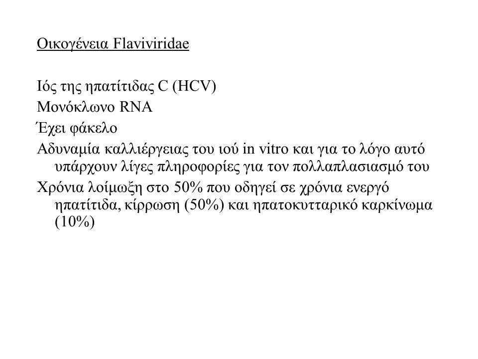 Οικογένεια Flaviviridae Ιός της ηπατίτιδας C (HCV) Μονόκλωνο RNA Έχει φάκελο Αδυναμία καλλιέργειας του ιού in vitro και για το λόγο αυτό υπάρχουν λίγες πληροφορίες για τον πολλαπλασιασμό του Χρόνια λοίμωξη στο 50% που οδηγεί σε χρόνια ενεργό ηπατίτιδα, κίρρωση (50%) και ηπατοκυτταρικό καρκίνωμα (10%)