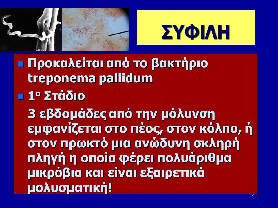 12 ΣΥΦΙΛΗ n Προκαλείται από το βακτήριο treponema pallidum n 1 ο Στάδιο 3 εβδομάδες από την μόλυνση εμφανίζεται στο πέος, στον κόλπο, ή στον πρωκτό μια ανώδυνη σκληρή πληγή η οποία φέρει πολυάριθμα μικρόβια και είναι εξαιρετικά μολυσματική.