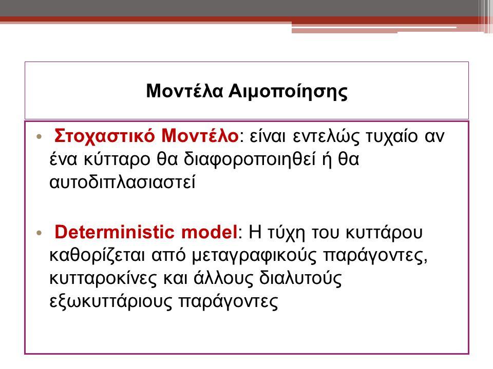 Μοντέλα Αιμοποίησης Στοχαστικό Μοντέλο: είναι εντελώς τυχαίο αν ένα κύτταρο θα διαφοροποιηθεί ή θα αυτοδιπλασιαστεί Deterministic model: Η τύχη του κυττάρου καθορίζεται από μεταγραφικούς παράγοντες, κυτταροκίνες και άλλους διαλυτούς εξωκυττάριους παράγοντες