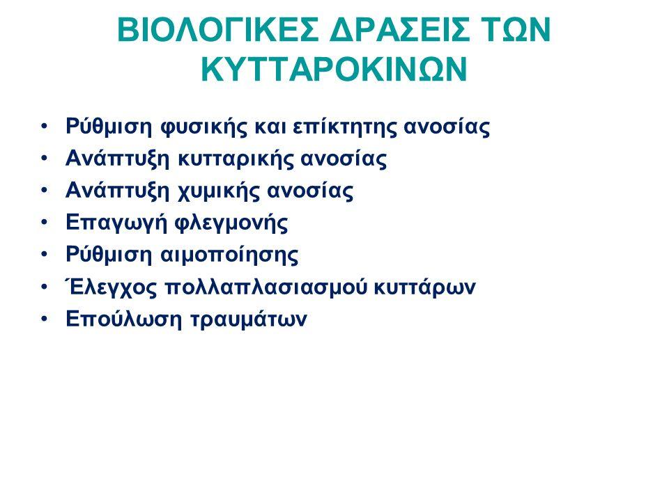 ΒΙΟΛΟΓΙΚΕΣ ΔΡΑΣΕΙΣ ΤΩΝ ΚΥΤΤΑΡΟΚΙΝΩΝ Ρύθμιση φυσικής και επίκτητης ανοσίας Ανάπτυξη κυτταρικής ανοσίας Ανάπτυξη χυμικής ανοσίας Επαγωγή φλεγμονής Ρύθμιση αιμοποίησης Έλεγχος πολλαπλασιασμού κυττάρων Επούλωση τραυμάτων