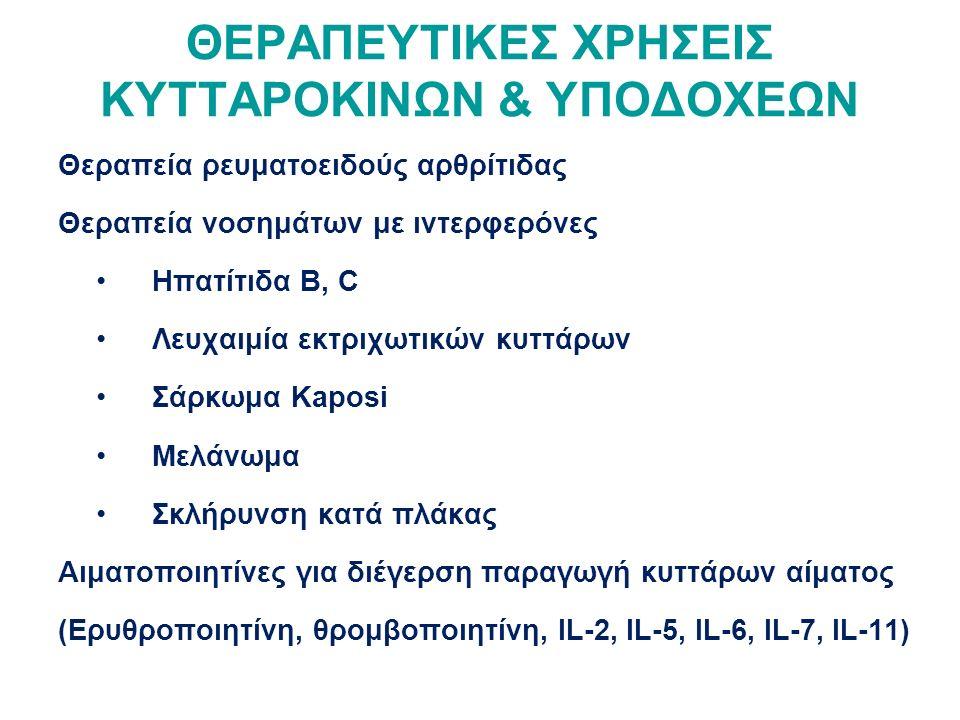 ΘΕΡΑΠΕΥΤΙΚΕΣ ΧΡΗΣΕΙΣ ΚΥΤΤΑΡΟΚΙΝΩΝ & ΥΠΟΔΟΧΕΩΝ Θεραπεία ρευματοειδούς αρθρίτιδας Θεραπεία νοσημάτων με ιντερφερόνες Ηπατίτιδα Β, C Λευχαιμία εκτριχωτικών κυττάρων Σάρκωμα Κaposi Μελάνωμα Σκλήρυνση κατά πλάκας Αιματοποιητίνες για διέγερση παραγωγή κυττάρων αίματος (Ερυθροποιητίνη, θρομβοποιητίνη, IL-2, IL-5, IL-6, IL-7, IL-11)