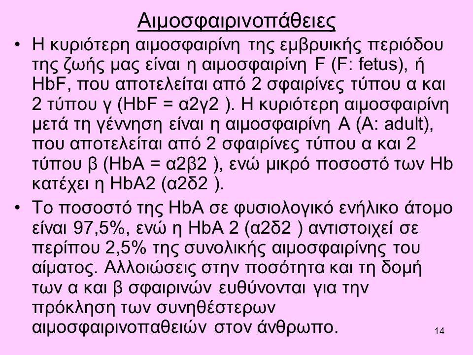 14 Αιμοσφαιρινοπάθειες Η κυριότερη αιμοσφαιρίνη της εμβρυικής περιόδου της ζωής μας είναι η αιμοσφαιρίνη F (F: fetus), ή HbF, που αποτελείται από 2 σφαιρίνες τύπου α και 2 τύπου γ (HbF = α2γ2 ).