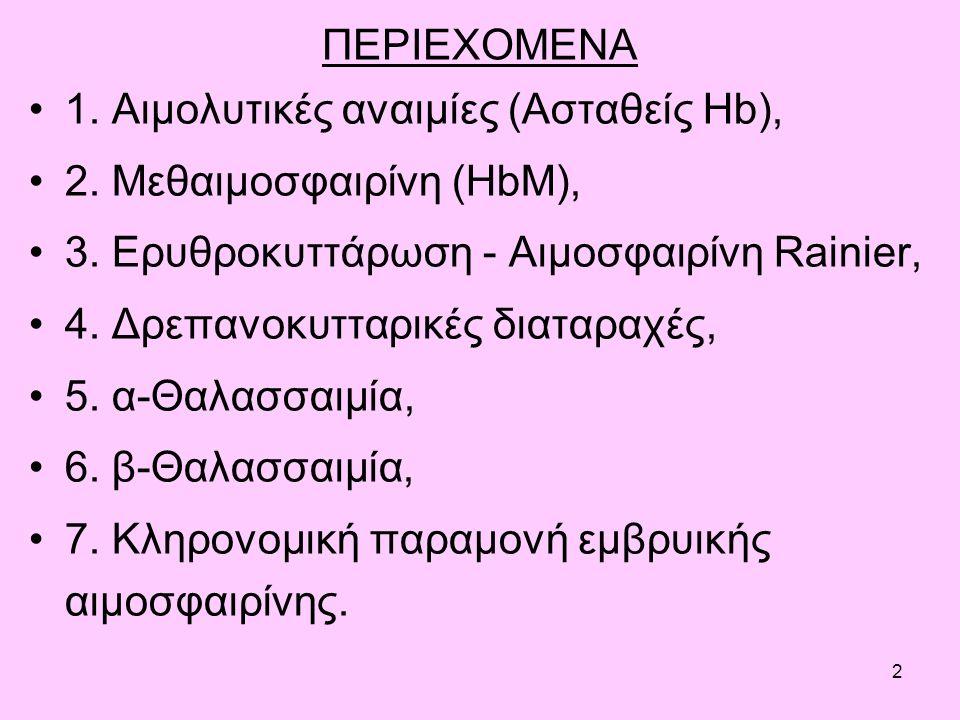 2 ΠΕΡΙΕΧΟΜΕΝΑ 1. Αιμολυτικές αναιμίες (Ασταθείς Hb), 2.