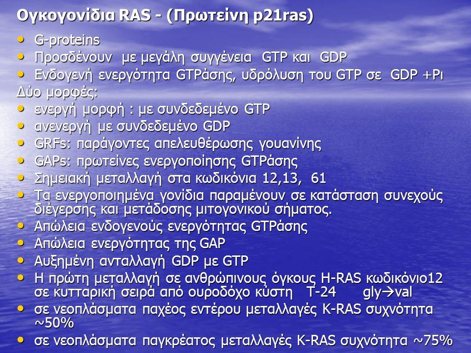 Ογκογονίδια RAS - (Πρωτείνη p21ras) G-proteins G-proteins Προσδένουν με μεγάλη συγγένεια GTP και GDP Προσδένουν με μεγάλη συγγένεια GTP και GDP Ενδογενή ενεργότητα GTPάσης, υδρόλυση του GTP σε GDP +Pι Ενδογενή ενεργότητα GTPάσης, υδρόλυση του GTP σε GDP +Pι Δύο μορφές: ενεργή μορφή : με συνδεδεμένο GTP ενεργή μορφή : με συνδεδεμένο GTP ανενεργή με συνδεδεμένο GDP ανενεργή με συνδεδεμένο GDP GRFs: παράγοντες απελευθέρωσης γουανίνης GRFs: παράγοντες απελευθέρωσης γουανίνης GAPs: πρωτείνες ενεργοποίησης GTPάσης GAPs: πρωτείνες ενεργοποίησης GTPάσης Σημειακή μεταλλαγή στα κωδικόνια 12,13, 61 Σημειακή μεταλλαγή στα κωδικόνια 12,13, 61 Τα ενεργοποιημένα γονίδια παραμένουν σε κατάσταση συνεχούς διέγερσης και μετάδοσης μιτογονικού σήματος.