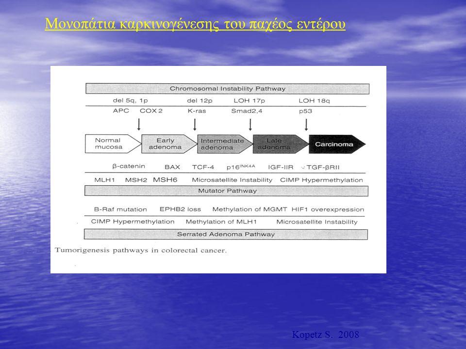 Μονοπάτια καρκινογένεσης του παχέος εντέρου Kopetz S. 2008