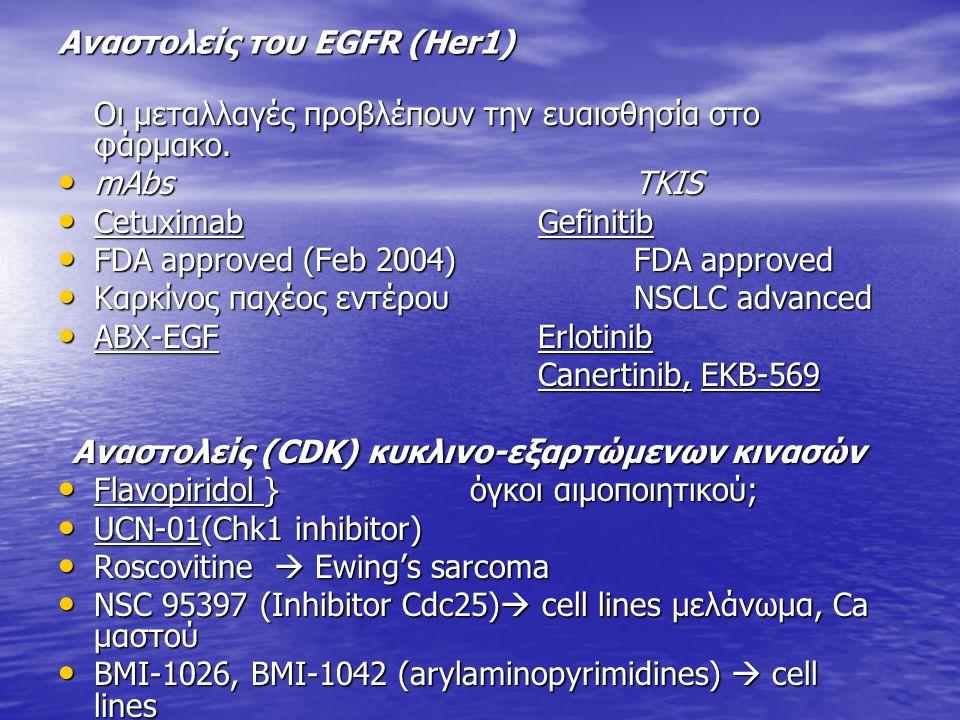 Αναστολείς του ΕGFR (Her1) Οι μεταλλαγές προβλέπουν την ευαισθησία στο φάρμακο. mAbs TKIS mAbs TKIS CetuximabGefinitib CetuximabGefinitib FDA approved