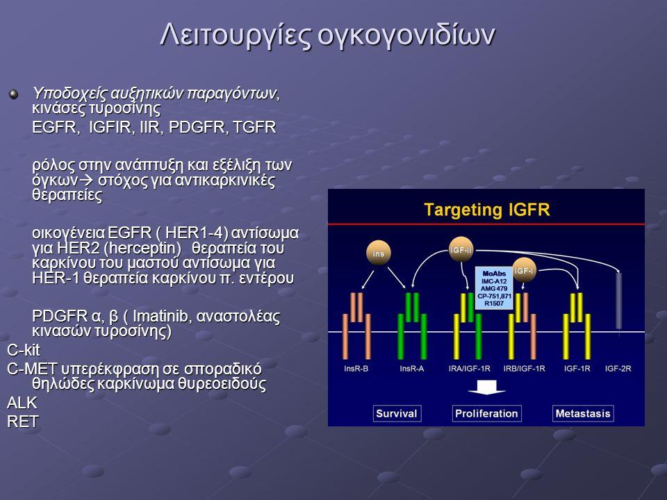 Λειτουργίες ογκογονιδίων Υποδοχείς αυξητικών παραγόντων, κινάσες τυροσίνης EGFR, IGFIR, IIR, PDGFR, TGFR ρόλος στην ανάπτυξη και εξέλιξη των όγκων  στόχος για αντικαρκινικές θεραπείες οικογένεια EGFR ( ΗΕR1-4) αντίσωμα για HER2 (herceptin) θεραπεία του καρκίνου του μαστού αντίσωμα για ΗΕR-1 θεραπεία καρκίνου π.