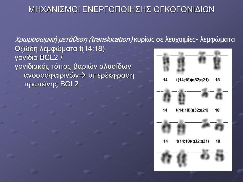 Οζώδη λεμφώματα t(14:18) γονίδιο ΒCL2 / γονιδιακός τόπος βαριών αλυσίδων ανοσοσφαιρινών  υπερέκφραση πρωτεΐνης BCL2 Χρωμοσωμική μετάθεση (translocation) κυρίως σε λευχαιμίες- λεμφώματα