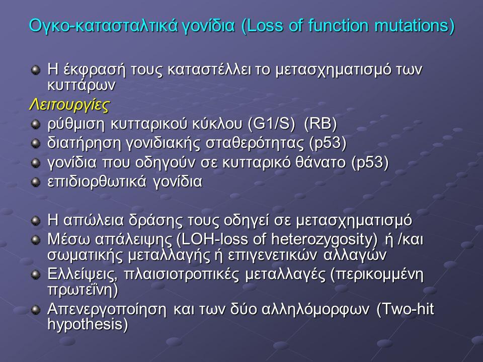 Ογκο-κατασταλτικά γονίδια (Loss of function mutations) Η έκφρασή τους καταστέλλει το μετασχηματισμό των κυττάρων Λειτουργίες ρύθμιση κυτταρικού κύκλου (G1/S) (RB) διατήρηση γονιδιακής σταθερότητας (p53) γονίδια που οδηγούν σε κυτταρικό θάνατο (p53) επιδιορθωτικά γονίδια Η απώλεια δράσης τους οδηγεί σε μετασχηματισμό Μέσω απάλειψης (LOH-loss of heterozygosity) ή /και σωματικής μεταλλαγής ή επιγενετικών αλλαγών Ελλείψεις, πλαισιοτροπικές μεταλλαγές (περικομμένη πρωτεΐνη) Απενεργοποίηση και των δύο αλληλόμορφων (Two-hit hypothesis)