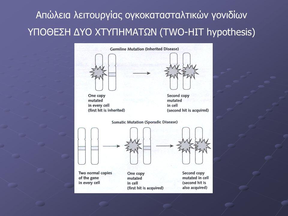 Απώλεια λειτουργίας ογκοκατασταλτικών γονιδίων ΥΠΟΘΕΣΗ ΔΥΟ ΧΤΥΠΗΜΑΤΩΝ (TWO-HIT hypothesis)