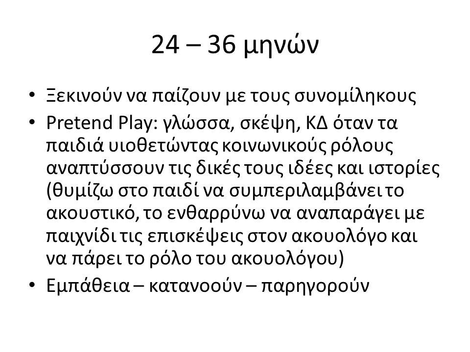 24 – 36 μηνών Ξεκινούν να παίζουν με τους συνομίληκους Pretend Play: γλώσσα, σκέψη, ΚΔ όταν τα παιδιά υιοθετώντας κοινωνικούς ρόλους αναπτύσσουν τις δικές τους ιδέες και ιστορίες (θυμίζω στο παιδί να συμπεριλαμβάνει το ακουστικό, το ενθαρρύνω να αναπαράγει με παιχνίδι τις επισκέψεις στον ακουολόγο και να πάρει το ρόλο του ακουολόγου) Εμπάθεια – κατανοούν – παρηγορούν