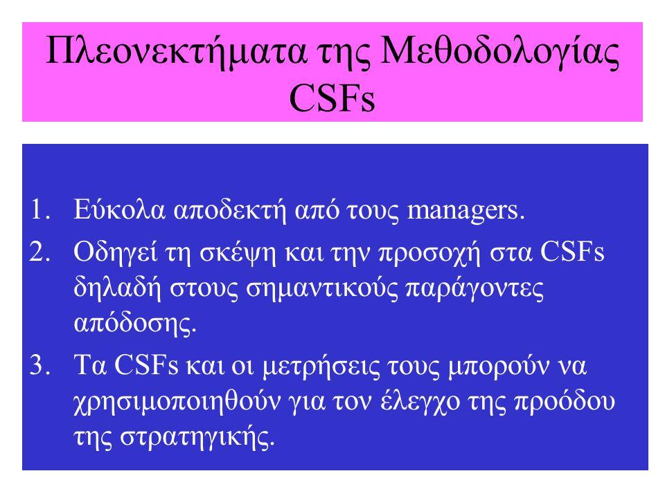 Πλεονεκτήματα της Μεθοδολογίας CSFs 1.Εύκολα αποδεκτή από τους managers. 2.Οδηγεί τη σκέψη και την προσοχή στα CSFs δηλαδή στους σημαντικούς παράγοντε