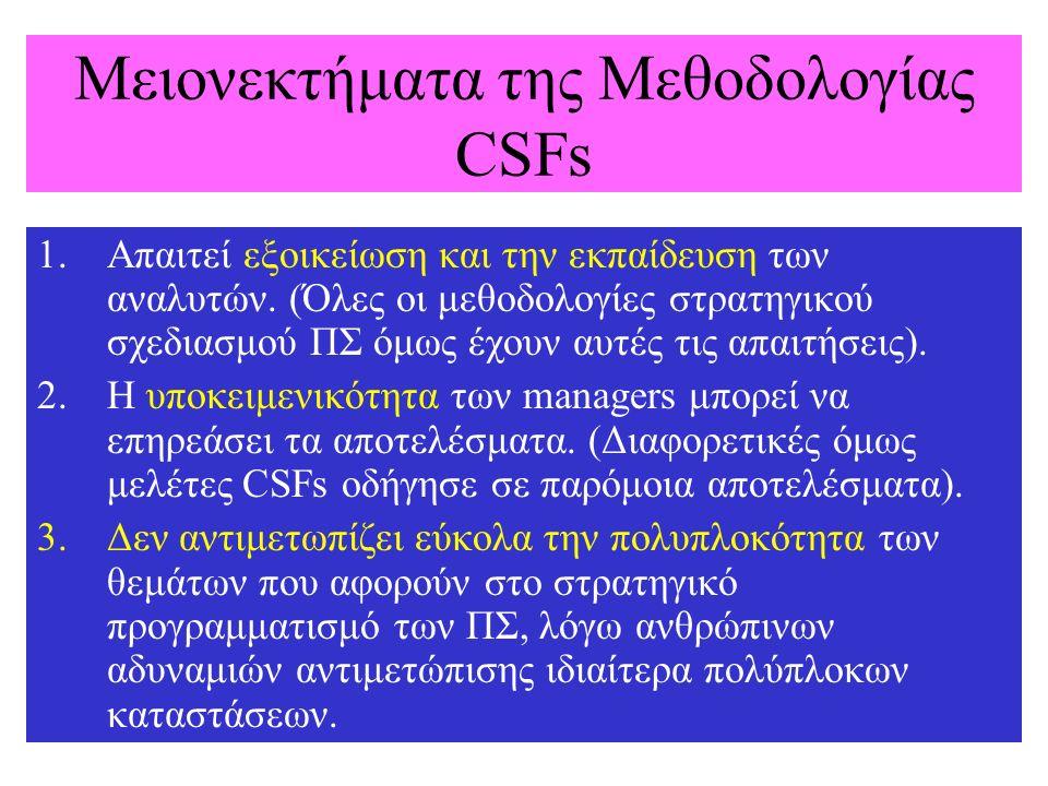 Μειονεκτήματα της Μεθοδολογίας CSFs 1.Απαιτεί εξοικείωση και την εκπαίδευση των αναλυτών. (Όλες οι μεθοδολογίες στρατηγικού σχεδιασμού ΠΣ όμως έχουν α