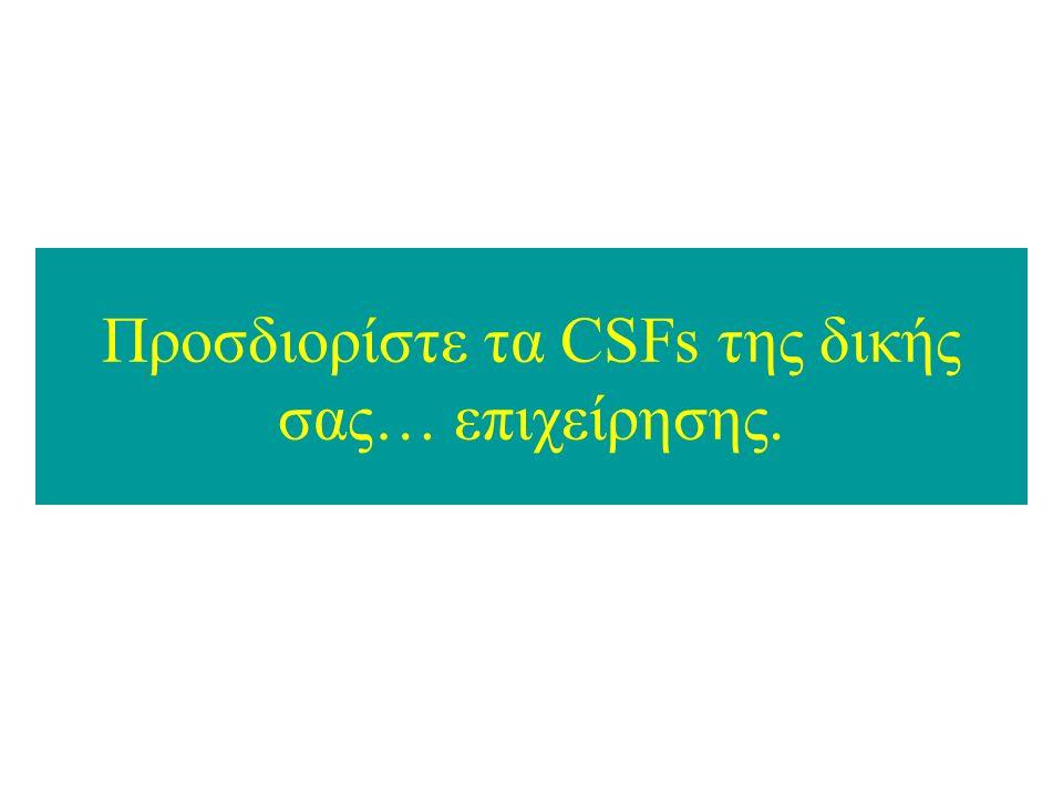 Προσδιορίστε τα CSFs της δικής σας… επιχείρησης.