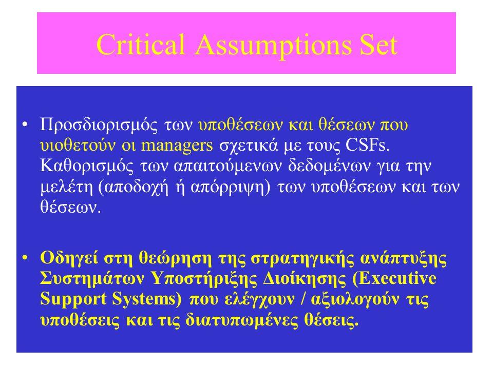 Critical Assumptions Set Προσδιορισμός των υποθέσεων και θέσεων που υιοθετούν οι managers σχετικά με τους CSFs. Καθορισμός των απαιτούμενων δεδομένων
