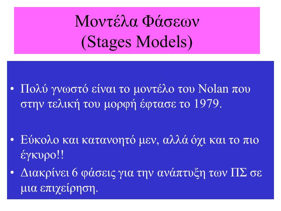 Μοντέλα Φάσεων (Stages Models) Πολύ γνωστό είναι το μοντέλο του Nolan που στην τελική του μορφή έφτασε το 1979. Εύκολο και κατανοητό μεν, αλλά όχι και