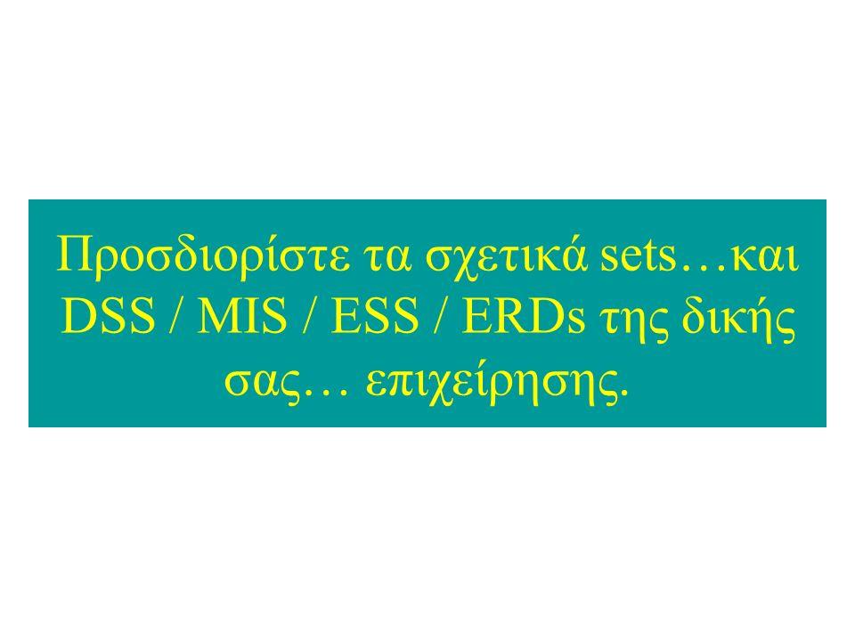 Προσδιορίστε τα σχετικά sets…και DSS / MIS / ESS / ERDs της δικής σας… επιχείρησης.