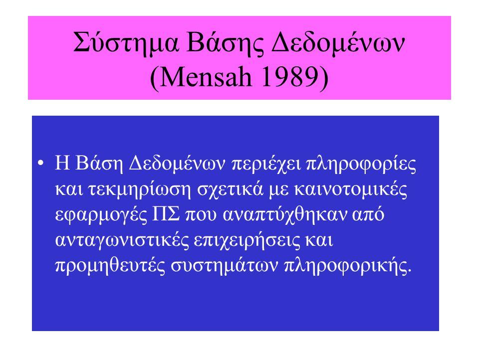 Σύστημα Βάσης Δεδομένων (Mensah 1989) Η Βάση Δεδομένων περιέχει πληροφορίες και τεκμηρίωση σχετικά με καινοτομικές εφαρμογές ΠΣ που αναπτύχθηκαν από α