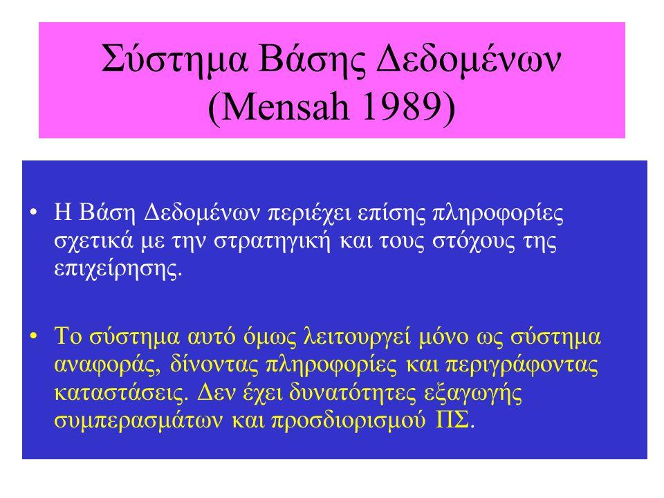Σύστημα Βάσης Δεδομένων (Mensah 1989) Η Βάση Δεδομένων περιέχει επίσης πληροφορίες σχετικά με την στρατηγική και τους στόχους της επιχείρησης. Το σύστ