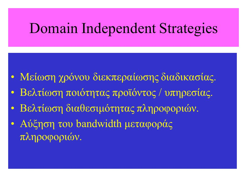 Domain Independent Strategies Μείωση χρόνου διεκπεραίωσης διαδικασίας.