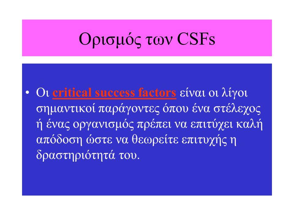 Ορισμός των CSFs Οι critical success factors είναι οι λίγοι σημαντικοί παράγοντες όπου ένα στέλεχος ή ένας οργανισμός πρέπει να επιτύχει καλή απόδοση