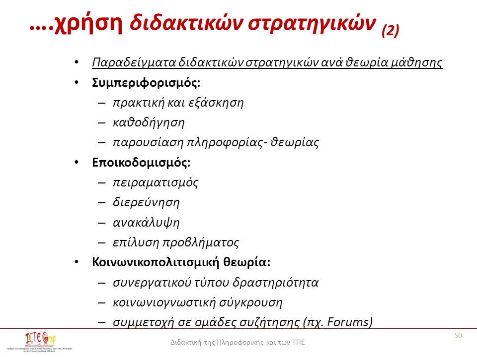 Διδακτική της Πληροφορικής και των ΤΠΕ Παραδείγματα διδακτικών στρατηγικών ανά θεωρία μάθησης Συμπεριφορισμός: – πρακτική και εξάσκηση – καθοδήγηση – παρουσίαση πληροφορίας- θεωρίας Εποικοδομισμός: – πειραματισμός – διερεύνηση – ανακάλυψη – επίλυση προβλήματος Κοινωνικοπολιτισμική θεωρία: – συνεργατικού τύπου δραστηριότητα – κοινωνιογνωστική σύγκρουση – συμμετοχή σε ομάδες συζήτησης (πχ.